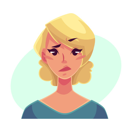 concerned: Pretty blond woman, upset, confused facial expression, cartoon vector illustrations isolated on blue background. Beautiful woman feeling upset, concerned, confused frustrated. Illustration
