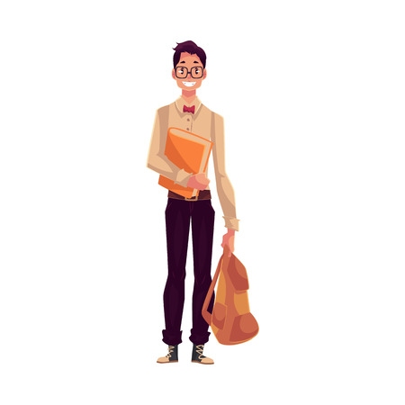 college student: College, university student, geek in square glasses holding backpack, cartoon style illustration isolated on white background. Male student with books and backpack wearing large glasses and bow tie