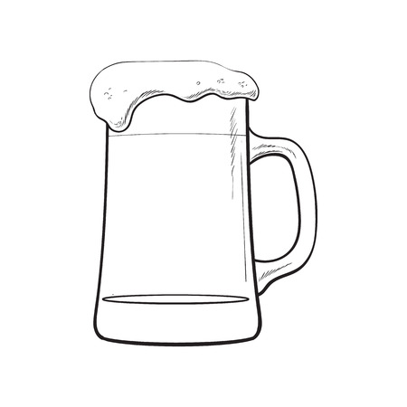 ale: Big mug of cold beer with foam and bubbles, sketch style vector illustration isolated on white background. Hand drawn frosty mug of ice cold beer, lager, ale, Oktoberfest symbol Illustration