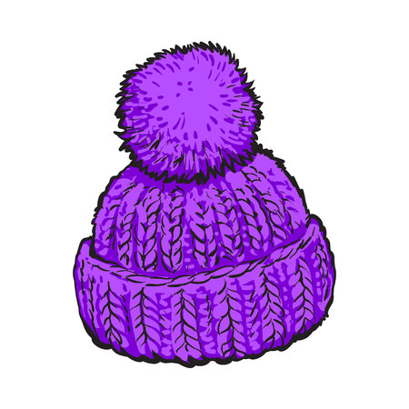 ski wear: Bright purple winter knitted hat with pompon, sketch style vector illustrations isolated on white background. Hand drawn woolen hat with a big fluffy pompom, winter accessory