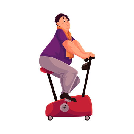 cardio workout: Fat man doing cycling workout, cartoon vector illustration isolated on white background. Obese, fat, chubby man trying to get fit by cycling, doing cardio exercises Illustration