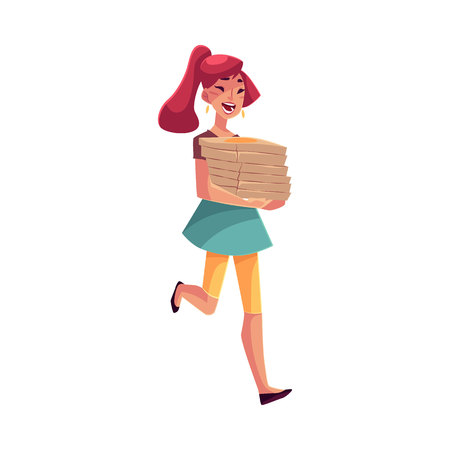 hurrying: Young beautiful girl hurrying to party with a stack of pizza boxes, cartoon vector illustration isolated on white background. Young woman running to party with pizza boxes