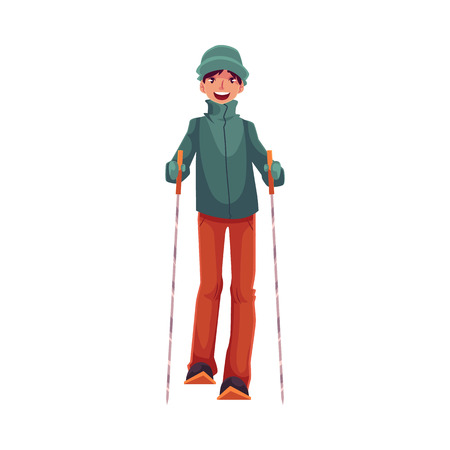 Teen-aged Caucasian boy with ski and poles, cartoon illustration isolated on white background. Full height portrait of nice teenage skier, fun winter activity, outdoor leisure time