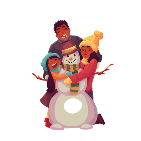 African family portrait of father, mother and daughter making snowman, cartoon vector illustration isolated on white background. Cheerful, happy black, african american family with a snowman