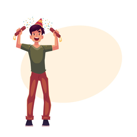 party poppers: Happy young man in birthday hat with party poppers in his hands, cartoon vector illustrationwith space for text. Young man having fun at birthday party celebration