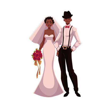 love couples: African American just married couple, bride and groom, cartoon illustration isolated on white background. Black bride and groom in fashionable clothing getting married