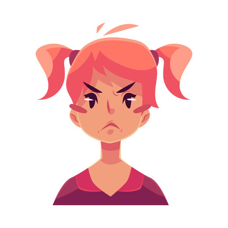 teen girl face: Teen girl face, angry facial expression, cartoon vector illustrations isolated on white background. Red-haired girl emoji face, feeling distressed, frustrated, sullen, upset. Angry face expression