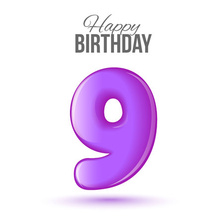 ninth birthday: Ninth birthday greeting card template with 3d shiny number nine balloon on white background. Birthday party greeting, invitation card, banner with number 9 shaped balloon on white background