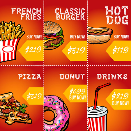 Set of fast food sale banner templates with hand drawn sketch style pizza, burger, hot dog, donut, coke and French fries. Set of colorful fast food discount banner templates