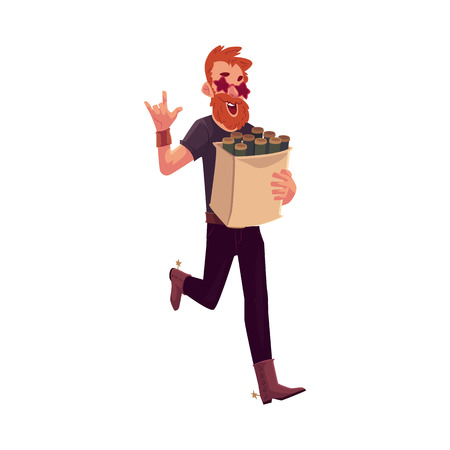 cowboy beard: Young hipster in star glasses and cowboy boots hurrying to party with a bag of beer bottles, cartoon vector illustration isolated on white background. Red haired party animal having fun at the party