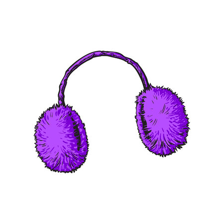 ear muffs: Bright purple fluffy fur ear muffs, sketch style vector illustrations isolated on white background. Hand drawn fluffy ear warmers, ear muffs made of fur, winter accessory Illustration