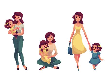 Madre e figlia, serie di illustrazioni cartone animato vettore isolato su sfondo bianco. Madre felice che tiene, coccole, abbracci, abbracciando la figlia. Piuttosto giovane donna con una figlia piccola