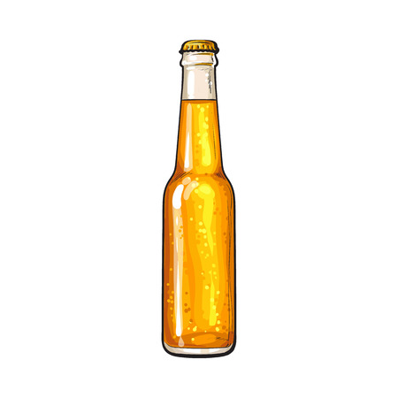 Bottle of cold beer, sketch style vector illustration isolated on white background. Hand drawn frosty bottle of ice cold golden beer, lager, ale, Oktoberfest symbol