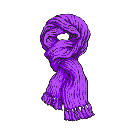 Bright purple slip knotted winter knitted scarf with tassels, sketch style vector illustrations isolated on white background. Hand drawn fluffy woolen scarf tied in slip knot, winter accessory Vectores