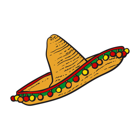 Traditional Mexican wide brimmed sombrero hat, sketch style vector illustration isolated on white background. Hand drawn Mexican sombrero Illustration