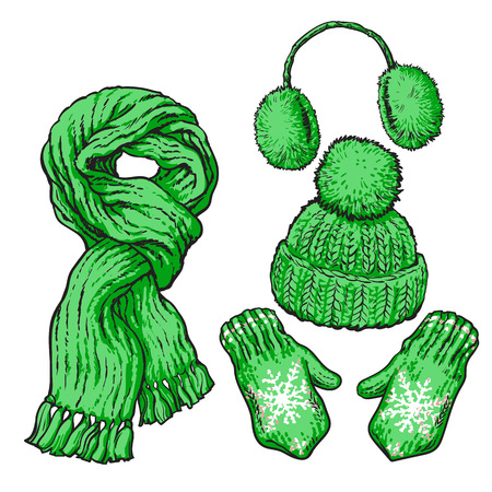 Set of bright green knotted scarf, hat, ear muffs and mittens, sketch style vector illustrations isolated on white background. Hand drawn woolen scarf, hat with a pompom, mittens and ear warmers