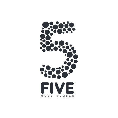 formed: Black and white number five template made of circles, vector illustration isolated on white background. Black and white number five graphic formed by bubbles or round shapes