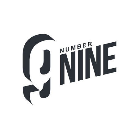 number nine: Black and white number nine diagonal template, vector illustrations isolated on white background. Graphic diagonal with three dimensional number nine