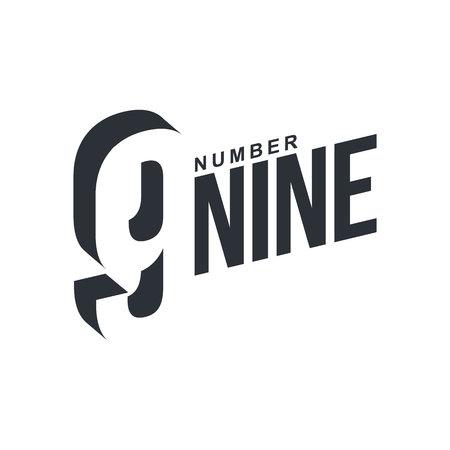 numero nueve: blanco y negro plantilla de número nueve en diagonal, ilustraciones de vectores aislados sobre fondo blanco. Gráfico diagonal con el número tres dimensiones y nueve