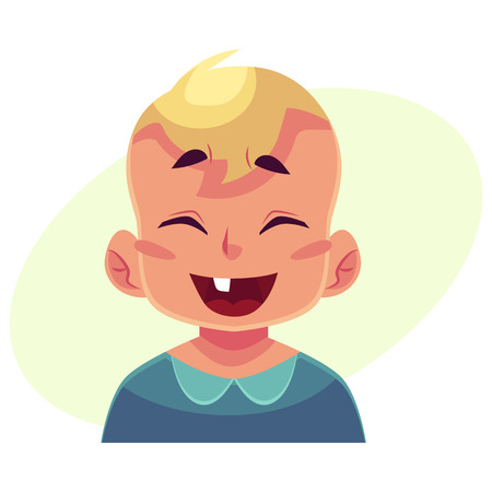Little boy face, laughing facial expression, cartoon vector illustrations isolated on yellow background. Blond male kid emoji face laughing out load, closed eyes and open mouth. Laughing expression Illustration