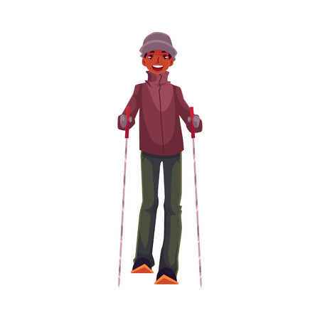 leisure time: Teen-aged black boy with ski and poles, cartoon vector illustration isolated on white background. Full height portrait of African Amercian teenage skier, fun winter activity, outdoor leisure time