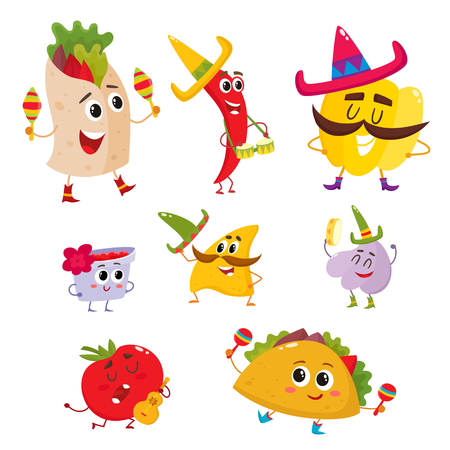 Set of smiling Mexican food having fun, cartoon vector illustration isolated on white background. Humanized Mexican food with big eyes and smiling faces playing music and having fun