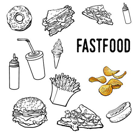 Set of black and white hand drawn fast food, sketch style vector illustration on white background. Pizza, burger, hot dog, sandwich, donut, ice cream, French fries outlines, coloring elements Illustration