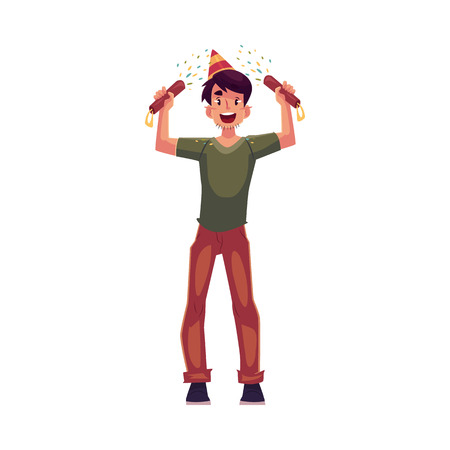 party poppers: Happy young man in birthday hat with party poppers in his hands, cartoon vector illustration isolated on white background. Young man having fun at birthday party celebration