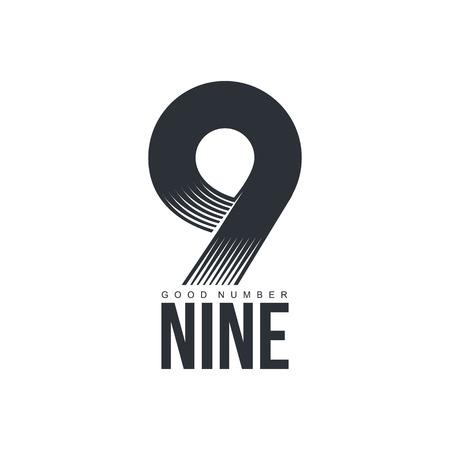 numero nueve: tecnológica blanco y negro número nueve, ilustración vectorial aislados en fondo blanco. blanco y negro con textura número nueve gráfico para las empresas científicas y tecnológicas