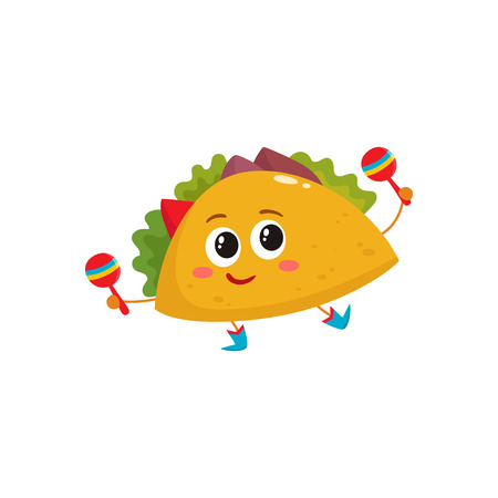 Smiling big eyed taco dancing and playing Mexican maracas, cartoon vector illustration isolated on white background. Humanized Mexican taco in cowboy boots playing shakers and having fun Vector Illustration