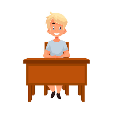 Clever school boy sitting at the desk with an open book, cartoon style vector illustration isolated on white background. blond boy in school uniform sitting at the desk Ilustração