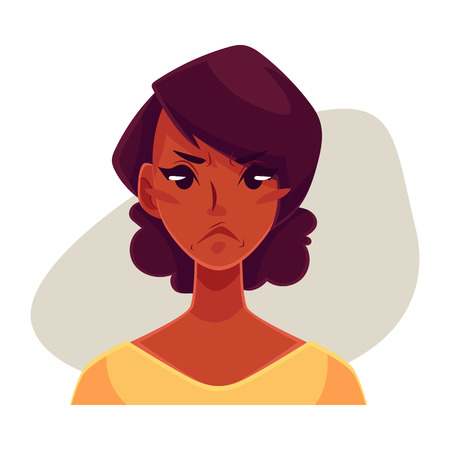 Pretty African girl, angry facial expression, cartoon vector illustrations isolated on gray background. Black woman frowns, feeling distressed, frustrated, sullen, upset. Angry face expression Illustration