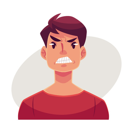 Young man face, angry facial expression, cartoon vector illustrations isolated on gray background. Handsome boy frowns, feeling distresses, frustrated, sullen, upset. Angry face expression