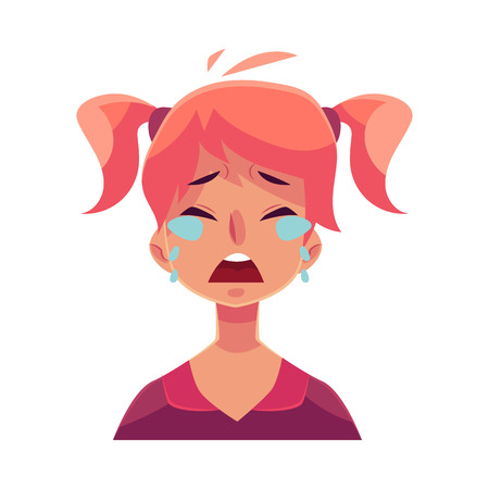 shedding: Teen girl face, crying facial expression, cartoon vector illustrations isolated on white background. Red-haired girl emoji face crying, shedding tears, sad, heart broken, in grief. Illustration