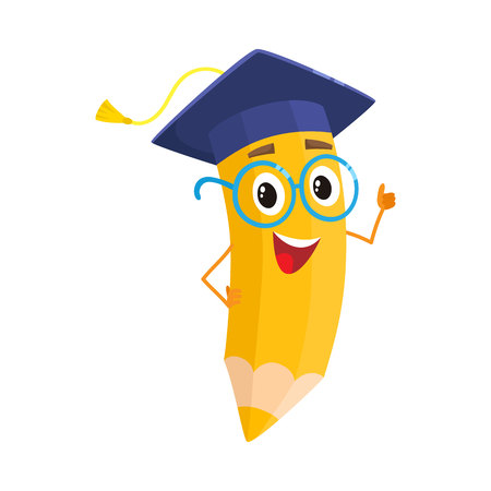 Yellow cartoon pencil with in graduation cap giving okay, vector illustration isolated on white background. Humanized funny pencil in a graduate cap with a tassel smiling and giving OK