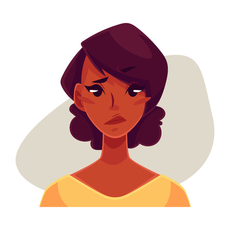 concerned: Pretty African girl, upset, confused facial expression, cartoon vector illustrations isolated on gray background. Black woman feeling upset, concerned, confused frustrated.