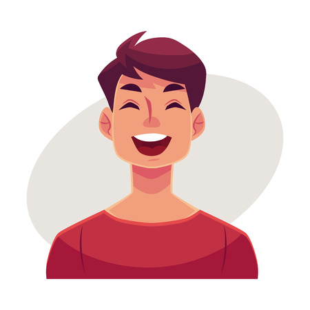 Young man face, laughing facial expression, cartoon vector illustrations isolated on gray background. Handsome boy emoji laughing out load with closed eyes and open mouth. Laughing face expression