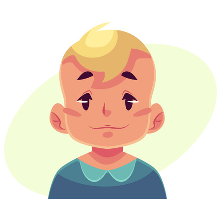 neutral face: Little boy face, neutral facial expression, cartoon vector illustrations isolated on yellow background. Blond male kid emoji face feeling glad, serene, relaxed, delighted. Neutral face expression