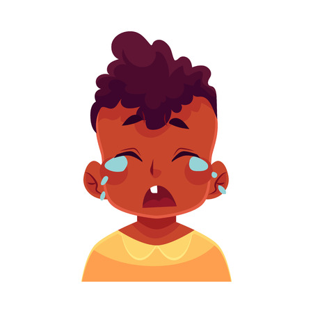 Little boy face, crying facial expression, cartoon vector illustrations isolated on white background. black male kid emoji face crying, shedding tears, sad, heart broken, in grief. Иллюстрация