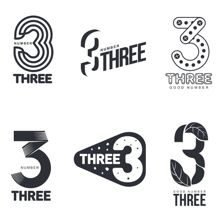 Set of black and white number three templates, vector illustrations isolated on white background. Black and white graphic number three templates - technical, organic, abstract 向量圖像
