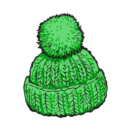 Bright green winter knitted hat with pompon, sketch style vector illustrations isolated on white background. Hand drawn woolen hat with a big fluffy pompom, winter accessory