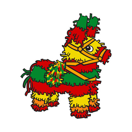 pinata: Traditional Mexican brightly colored striped pinata, sketch style vector illustration isolated on white background. Hand drawn Mexican pinata, symbol of Mexical culture Illustration