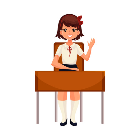 Clever school girl sitting at the desk and raising hand to answer, cartoon vector illustration isolated on white background. Pretty girl in school uniform sitting at the desk and willing to answer