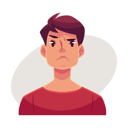 Jongeman gezicht, boze gelaatsuitdrukking, cartoon vector illustraties geïsoleerd op een grijze achtergrond. Knappe jongen emoji, het gevoel verontrust, gefrustreerd, nors, boos. Boos gezicht expressie