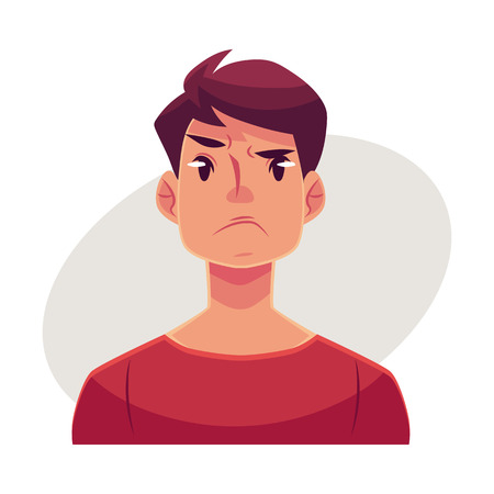 Young man face, angry facial expression, cartoon vector illustrations isolated on gray background. Handsome boy emoji, feeling distressed, frustrated, sullen, upset. Angry face expression Illustration