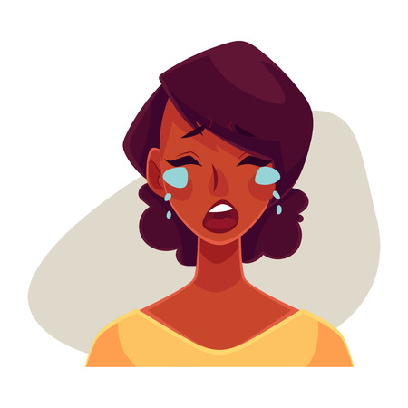 shedding: Pretty African girl, crying facial expression, cartoon vector illustrations isolated on gray background. Black woman crying, shedding tears, sad, heart broken, in grief. Angry face expression