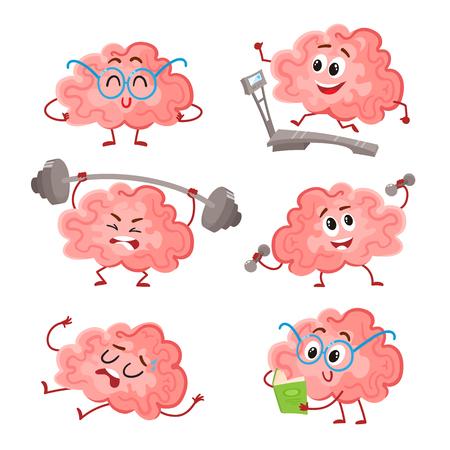 Grappig brain training met barbell, dumbbells, op de loopband, lezen en rusten, cartoon vector illustratie op een witte achtergrond. Reeks leuke hersenen als een metafoor van de hersenen training en ontwikkeling