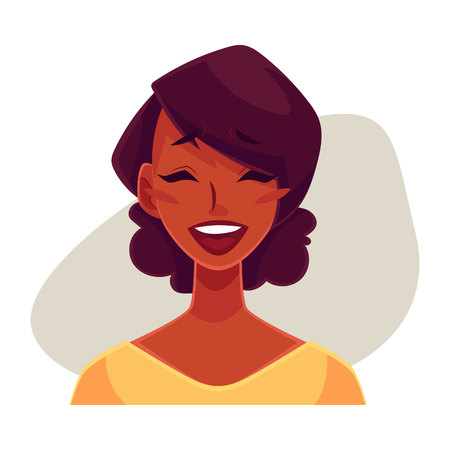girl open mouth: African girl woman, laughing facial expression, cartoon vector illustrations isolated on gray background. Black woman laughing out load with closed eyes and open mouth. Laughing face expression