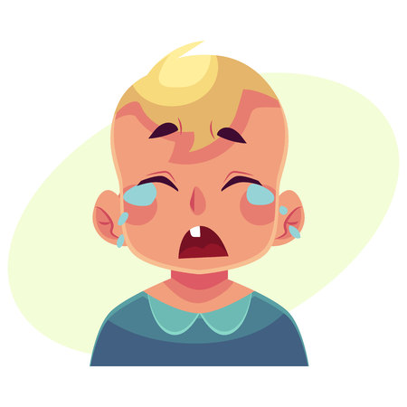 shedding: Little boy face, crying facial expression, cartoon vector illustrations isolated on yellow backgroundd. Blond male kid emoji face crying, shedding tears, sad, heart broken, in grief.