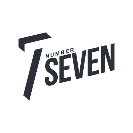 number seven: Black and white number seven diagonal  template, vector illustrations isolated on white background. Graphic   with diagonal  with number seven